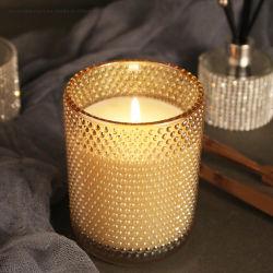Venda por grosso de 210g Vela Padrão em relevo o copo de vidro Boticário Candle Jar Glisten Natal branco e dourado suporte para velas