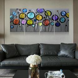 Abstrakte Mischungs-Farbe des Kreis-3D blüht MetallÖlgemälde-modernes Hauptwand-Kunst-Dekor-Handwerk