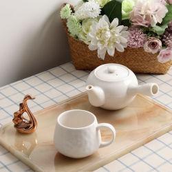 Mango liso blanco tetera de cerámica vidriada