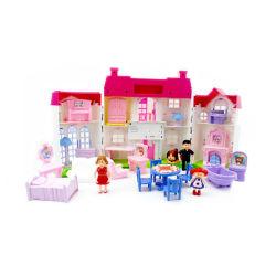 Mädchen täuschen glückliches Familien-Puppe-Spiel-Haus-Spielzeug mit Möbeln vor (10307928)