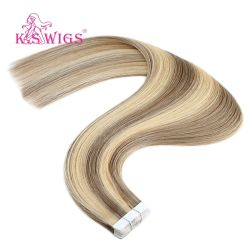 Tape in Hair Extension Chocolate Brown naar Caramel Blonde Remy Human Hair Extensions Balayage naadloze Straight Real Hair Extension Tape In natuurlijk haar 18 inch