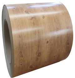China-Qualitäts-strich hölzernes Korn-Muster Dx51d SGCC galvanisierten Stahlring PPGI vor