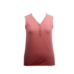 La regeneración de poliéster y viscosa señoras suave Chaleco de fibra verde Camiseta Jersey