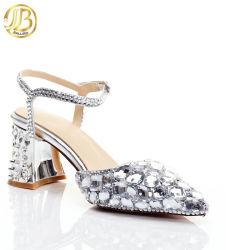 Crystal sandales sangle de boucle talons carrés avec strass chaussures de mariage en cuir véritable