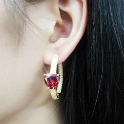 Brass#Copper에 있는 새로운 도착 형식 보석 굴렁쇠 귀걸이 심혼 모양 센터 돌