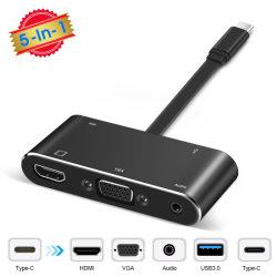 USB CからHDMI+VGA+USB3.0+Pd+3.5mmの可聴周波多重タイプC /USB-Cのハブのアダプター(サポート4K*2K、PDの速い充満)