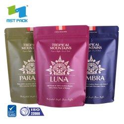 100% biodegradáveis impresso personalizado padrão alimentar uma folha de alumínio embalagem stand-up sacos de chá de café verde
