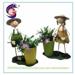 Maison & jardin Ornement de garçon et fille avec peuplement Pot de fleurs