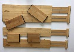 Organizador de cajón de madera ajustable con bonificación de 4 piezas para utensilios de cocina y baño de platería, maquillaje y artículos de tocador y Escritorio Supplies-Makes