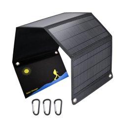 Fast-Charging 3 cellules monocristallines USB 5V Chargeur panneau solaire pliable 28W