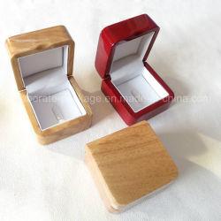 Contenitore laccato vernice di anello dei piccoli monili di legno reali portatili del polacco di lucentezza del piano singolo