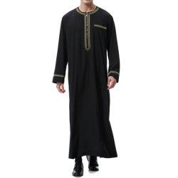 2020の人の長い袖のイスラム教のアラビアの人のThobe新しいカスタムThawbのカフタン優雅で薄いローブ