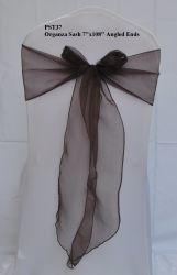 Pst37 Présidence Liens Décoration de mariage de l'organza Sashes brun chocolat