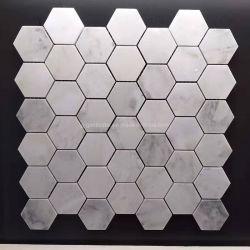 """2つ""""中国は台所または浴室の床のための/Luxury/の東白い方解石か大理石またはモザイク六角形のタイルか壁またはカウンタートップまたはBacksplash磨いた"""