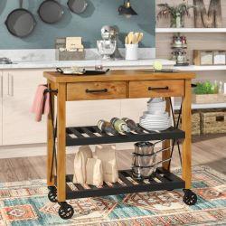 A American Home todos os estilos de cozinha de Rolagem sólidos de madeira com 2 gaveta do carrinho