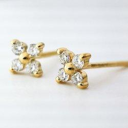 Pendientes Oro 18K de diamantes de los espárragos de la flor de pendientes Joyería fina