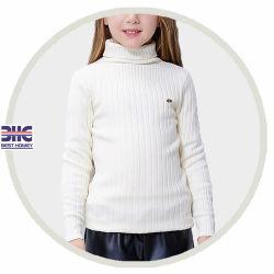 아이의 소녀를 위한 백색 스웨터 디자인이 100%년 면 자라목 스웨터에 의하여 뜨개질을 했다