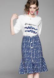 Fishtail traje de vestir de moda para mujer vestido con reducción de la edad y estilo de ropa de mujeres extranjeras