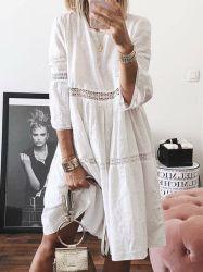 2020 Nuevo diseño de costura bordados hueco mujer Manga Corta vestido largo verano
