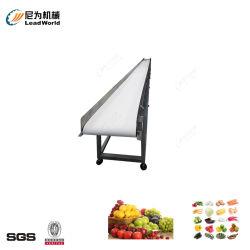 각종 야채 과일 포장 제품 식사 커피 우유 빵 건빵 과자는 컨베이어를 상자에 넣는다