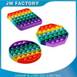 El color de silicona caliente de Venta aliviar el estrés de la burbuja de inserción de Arco Iris sensorial que Fidget Pop juego juguete