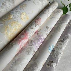 Belüftung-Vinylrückseiten-Papier-wasserdichtes Blumenrosen-nicht selbstklebendes dekoratives Wand-Hauptpapier