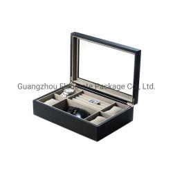 De bonne qualité des bijoux en bois vernis mat noir de montres et les boutons de manchette Case d'affichage avec plateau en verre