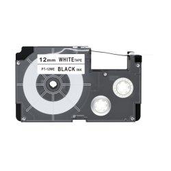 백색 Casio Ez 프린터 라벨에 Duty 12mm 검은색 카세트 스티커 테이프
