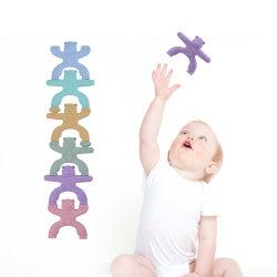 6 قطع صغيرة من السيليكون الطفل لعبة خالية من مادة الBPA كتل إنشاء خالية من مادة الدمية لعب الأطفال التوازن التربوي لعب جينجا هدايا طفل
