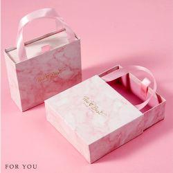 Mango de la cinta de opciones de impresión de logotipo personalizado regalo de joyas de moda de embalaje de cartón de papel mármol cajones
