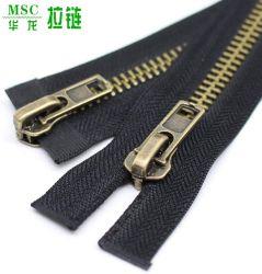 #8 cremalleras metálicas separadas de dos vías de latón de coser Chaqueta Anti