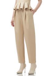 Cg017 Mujer Verano color beige con cintura Normal de cuero de imitación pantalones holgados cónico