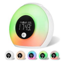Wake-up Light espejo electrónica reloj de alarma de visualización de temperatura de la decoración del hogar de espejo LED Reloj alarma
