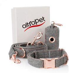 Custom Rose Gold Fivela Tweed Dog Leash com Colar de correspondência