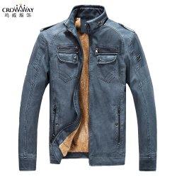 Commerce de gros hommes d'hiver manteau décontracté surdimensionné moto classique PU veste de cuir avec de la fourrure