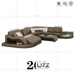 Forma de U al por mayor de muebles de salón sofá de cuero