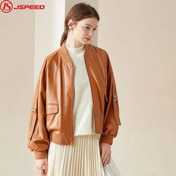 Custom Women Turn Down Collar Varsity Bomber Leather Jackets