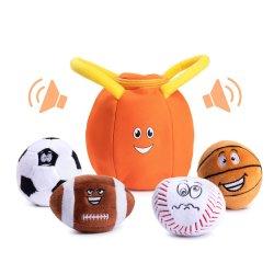 Het pluche Gevulde Speelgoed van de Zak van Sporten met 4 Sprekende Zachte Ballen