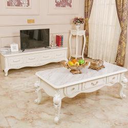 Het Europese Stijl Gesneden Meubilair van het Huis van de Koffietafel van de Woonkamer Witte Elegante Moderne Houten Marmeren Hoogste