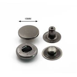 Qualidade elevada 15 mm acabamento em bronze de cabeça plana do prendedor de Metal Botão de encaixe para Bag