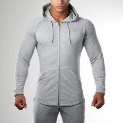 Felpe sportive Fitness Slim Fit da uomo con zip completa Giacca