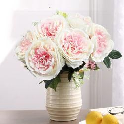 O Chá de seda artificial Rose bouquet de flores para decoração de casamento