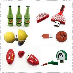 USB personalizada Deportes 3D de bola PVC caucho caucho unidad Flash USB memoria USB para la promoción corporativa de regalos