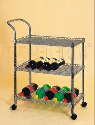 Vin de rangement métallique mobile boissons Présentoir chariot d'étagères