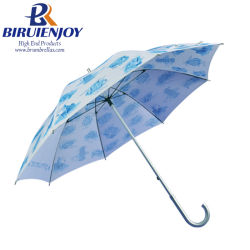 Fancy Design Ladies Umbrella Custom Print J 字型ハンドル付きストレート傘