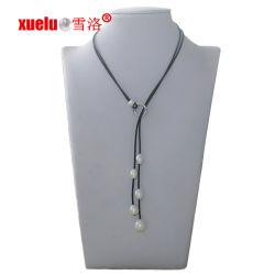 La moda de cuero barato Collar de perlas de agua dulce joyas para regalo de Navidad