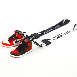 2020 새로운 맞춤형 3D 미니 스니커즈 AJ Jordan Cute 신발 화이트 랜드가 있는 키체인
