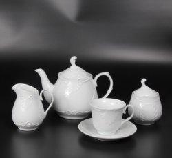 La Familia Real en relieve de porcelana juego de té con 1200 ml tetera, 220 ml taza de té y plato y el azúcar bote jarra de leche