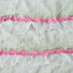 花嫁のウェディングドレスのためのRoseoそして白い3D花の生地