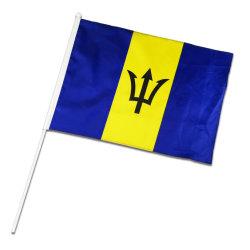 Drapeau de la main de la Barbade Barbade personnalisée Journée nationale de la bannière de table de la Chine Drapeau de la promotion de la Barbade en usine